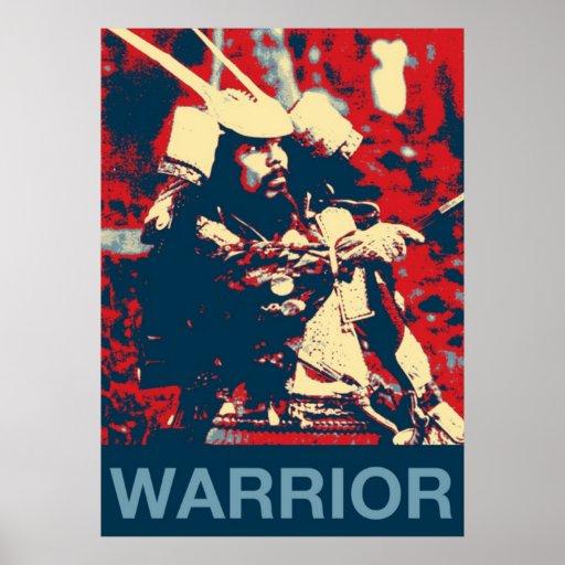 Vintage Retro Cool Samurai Warrior Martial Artist Poster