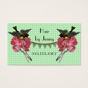 Professional Business vintage retro cosmetologist hair stylist rose mint business card
