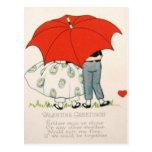 Vintage Retro Couple Under Umbrella Valentine Card Postcards