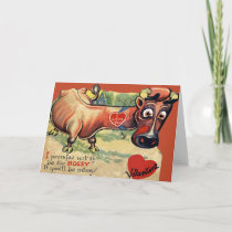 Vintage Retro cow Valentine Card