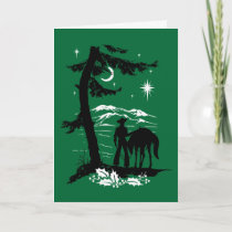 Vintage Retro Cowboy Christmas Holiday Card