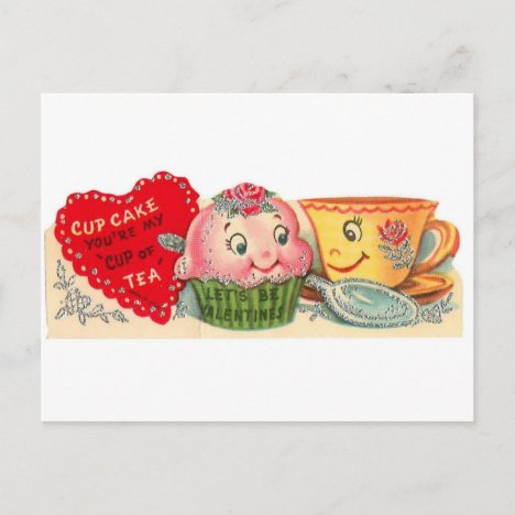 Vintage Retro Cupcake And Teacup Valentine's Day Holiday Postcard