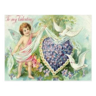 Vintage Retro Cupid Doves Valentine Card