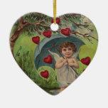Vintage Retro Cupid Heart Umbrella Valentine Card Ornaments