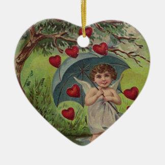 Vintage Retro Cupid Heart Umbrella Valentine Card Double-Sided Heart Ceramic Christmas Ornament