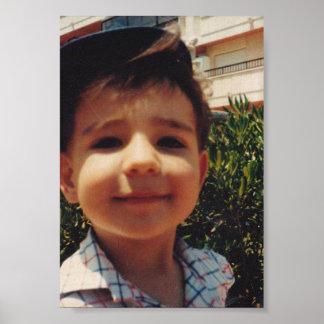 Vintage Retro Cute Boy Sweet Smiling Child Photo Poster
