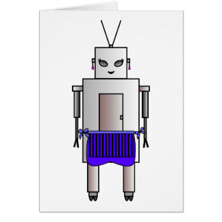 Vintage Retro Cute Female Robot With Apron Card