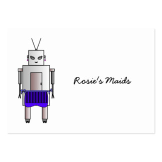 Vintage Retro Cute Female Robot With Apron Large Business Card