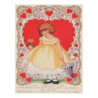 Vintage Retro Cute Girl Hearts Valentine Card