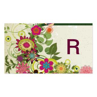 Vintage Retro Cute Girly Grunge Flower Monogram Business Card Templates