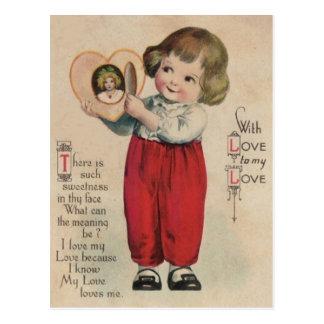 Vintage Retro Cute Little Boy Heart Valentine Card