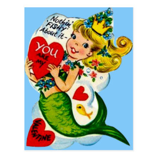 Vintage Retro Cute Mermaid Valentine Card