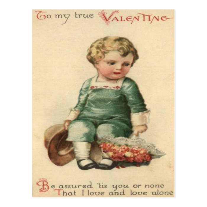 Vintage Retro Cute Victorian Baby Valentine Card