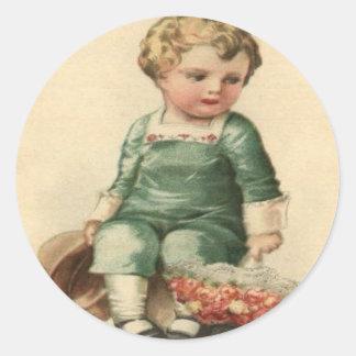 Vintage Retro Cute Victorian Baby Valentine Card Round Stickers