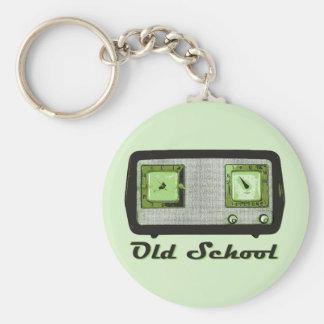 Vintage retro de la radio de la escuela vieja llavero redondo tipo pin
