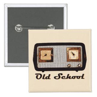 Vintage retro de la radio de la escuela vieja pin cuadrado