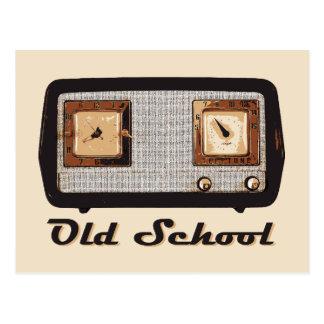 Vintage retro de la radio de la escuela vieja postal
