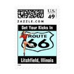 Vintage retro de la ruta 66 de los retrocesos de sello
