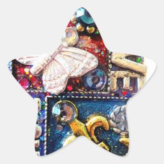 Vintage retro del diseño del collage del amor pegatina en forma de estrella