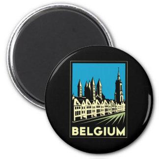 vintage retro del viaje del art déco de Bélgica Eu Imán De Nevera