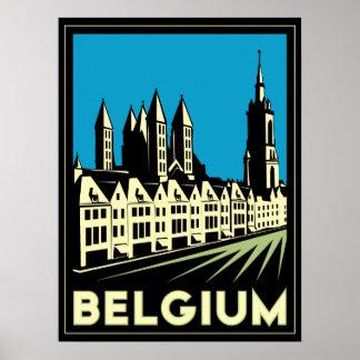 vintage retro del viaje del art déco de Bélgica Eu Impresiones