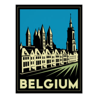 vintage retro del viaje del art déco de Bélgica Eu Póster