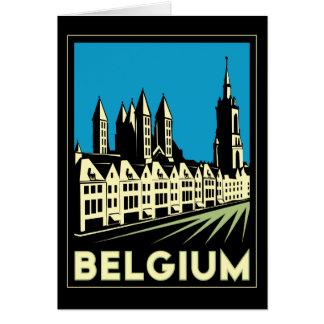 vintage retro del viaje del art déco de Bélgica Eu Tarjeta