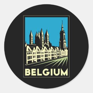 vintage retro del viaje del art déco de Bélgica Pegatinas Redondas