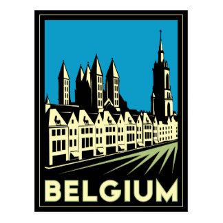 vintage retro del viaje del art déco de Bélgica Postal