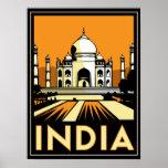 vintage retro del viaje del art déco del Taj Mahal Poster
