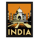 vintage retro del viaje del art déco del Taj Mahal Póster