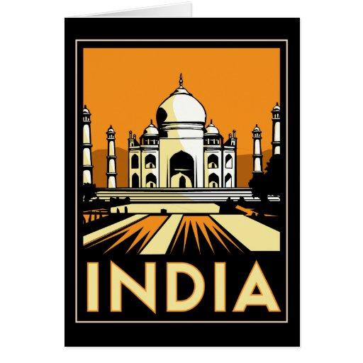 vintage retro del viaje del art déco del Taj Mahal Tarjeta