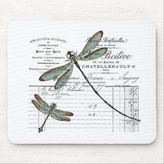 Vintage, Retro Design France - dragonfly, insect Mouse Pad