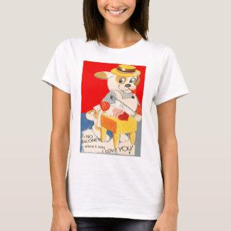 Vintage Retro Dog Cutting Baloney Valentine Card T-Shirt