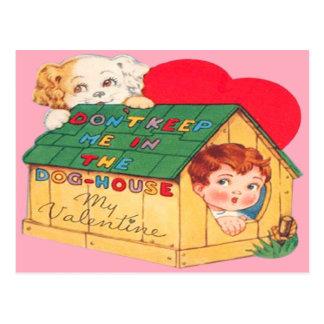 Vintage Retro Dog House Valentine Card