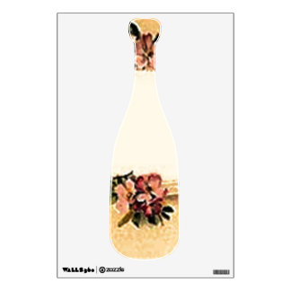Vintage Retro Dogwood Champagne Bottle Wall Decal