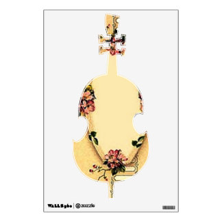 Vintage Retro Dogwood Upright Bass Wall Decal