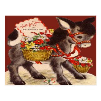 Vintage Retro Donkey Valentine Card