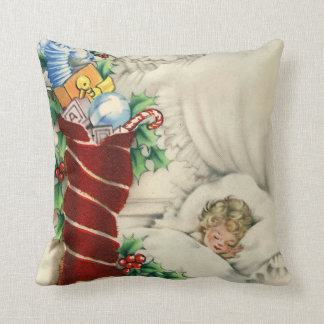 Vintage retro dreaming of Christmas kid pillow
