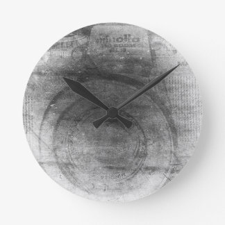 Vintage retro dreamy grey distressed photo camera round clock