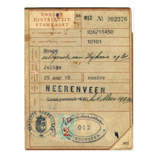 Vintage Retro Dutch Nederland Stamkaart 1918 Card