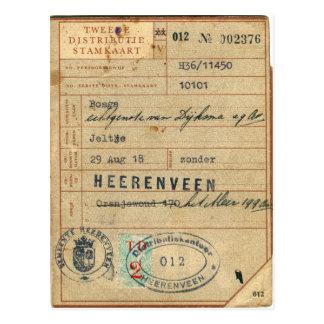 Vintage Retro Dutch Nederland Stamkaart 1918 Card