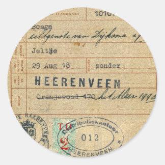 Vintage Retro Dutch Nederland Stamkaart 1918 Card Classic Round Sticker