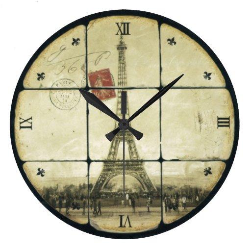 Vintage Retro Eiffel Tower Fleur De Lis Design Clocks