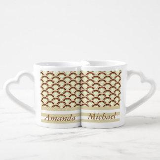 Vintage retro elegant abstract stripe / add name lovers mug