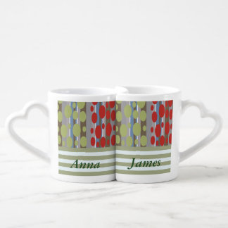 Vintage retro elegant abstract stripe / add name lovers mug set