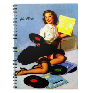Vintage Retro Elvgren Music Records Pin Up Girl Notebook