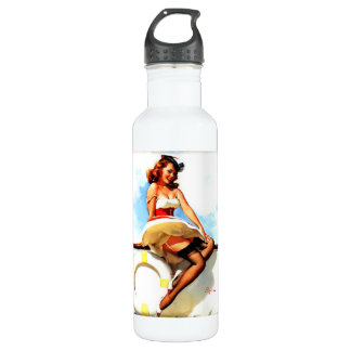 Vintage Retro  Elvgren Sailor Nautical Pinup Girl 24oz Water Bottle