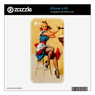 Vintage Retro Elvgren Telephone Pin up Girl Skins For The iPhone 4S