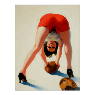 Vintage Retro Enoch Bolles Football Pinup Girl Poster
